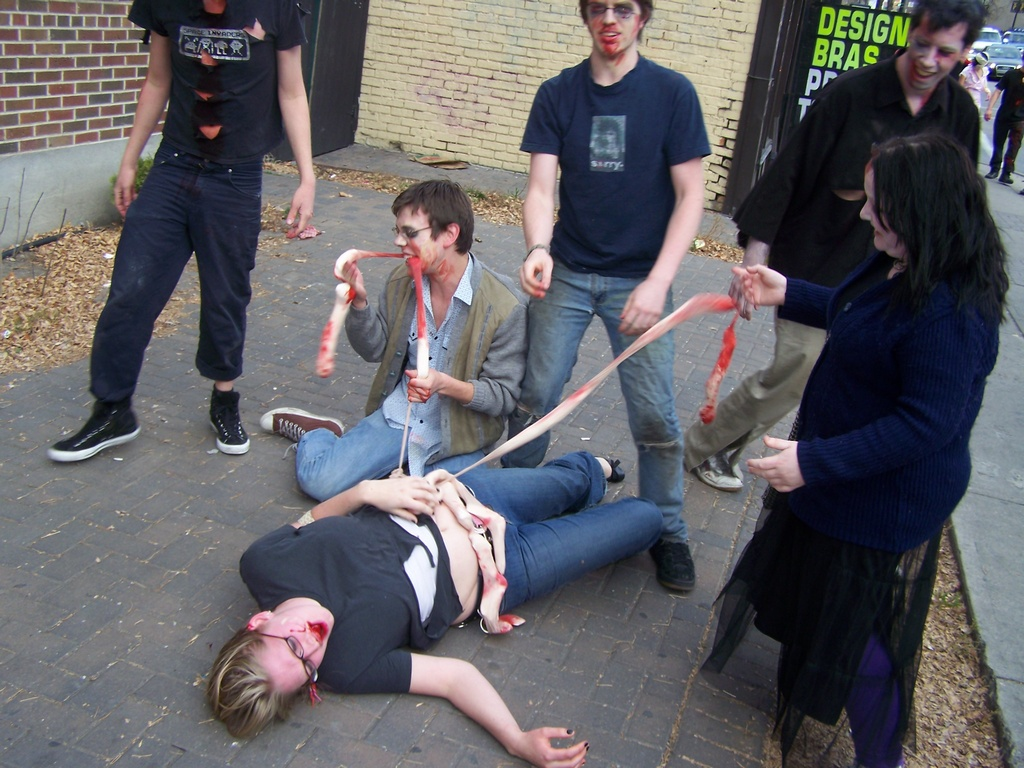 Zombies feast on girl's intestines