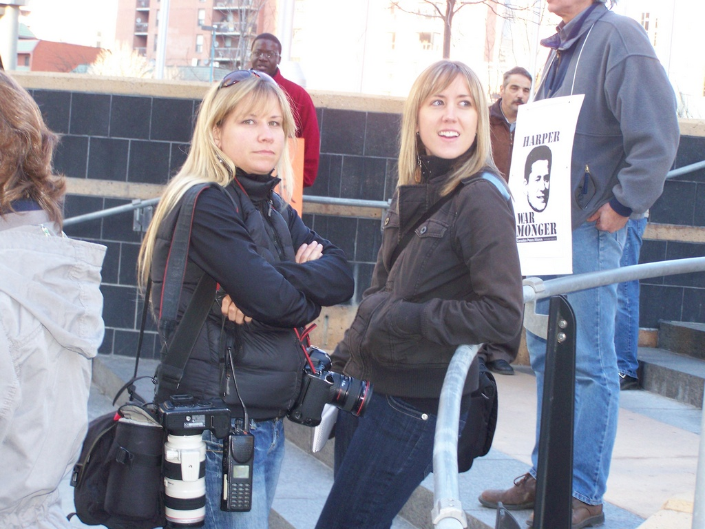 Two journalists at rally