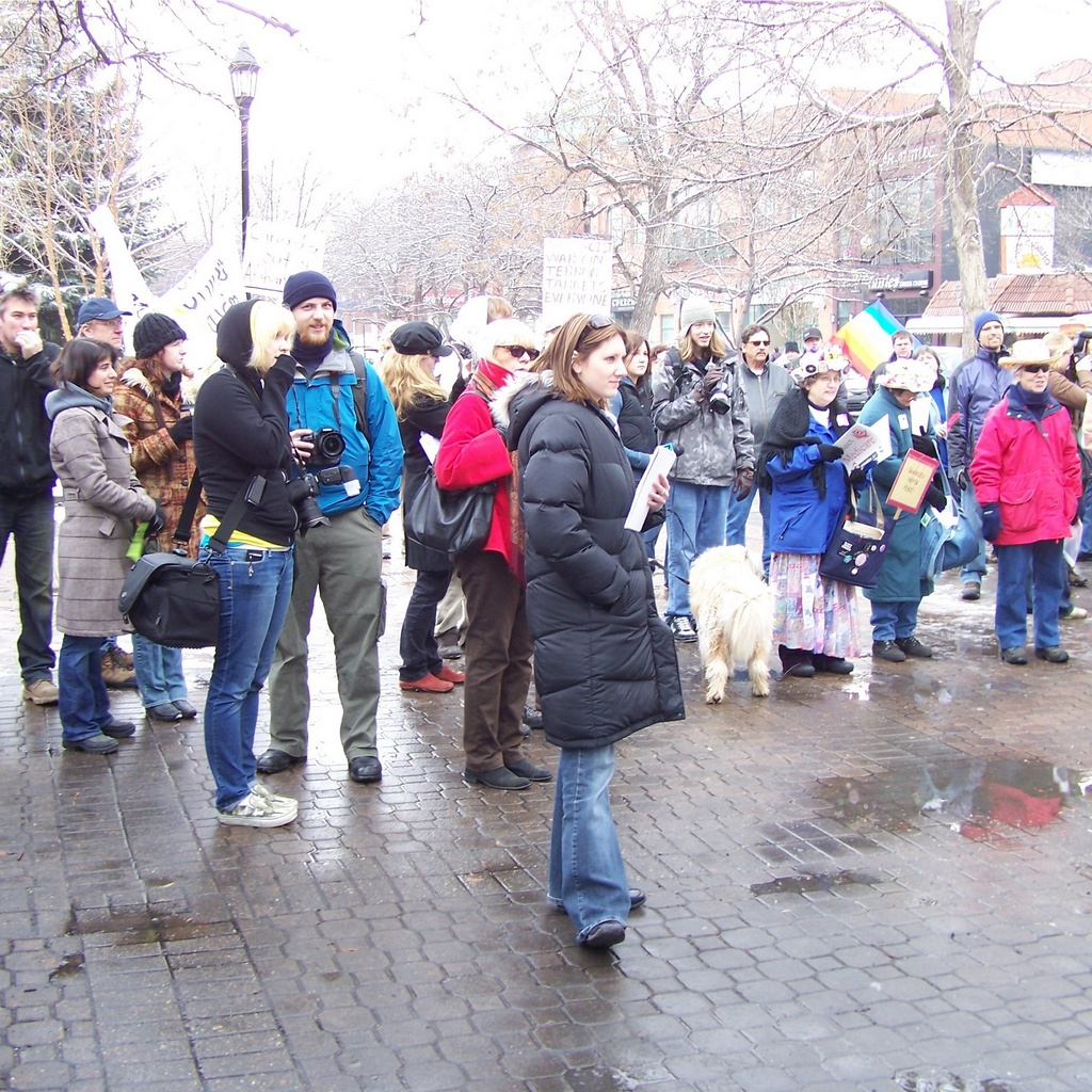 Crowd listens to speaches at Tomkins park