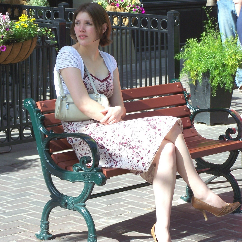 Sitting on a bench