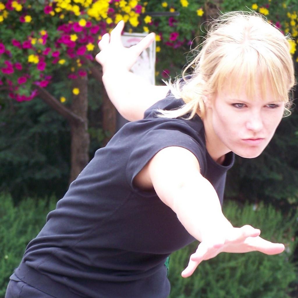 Striking a dramatic pose