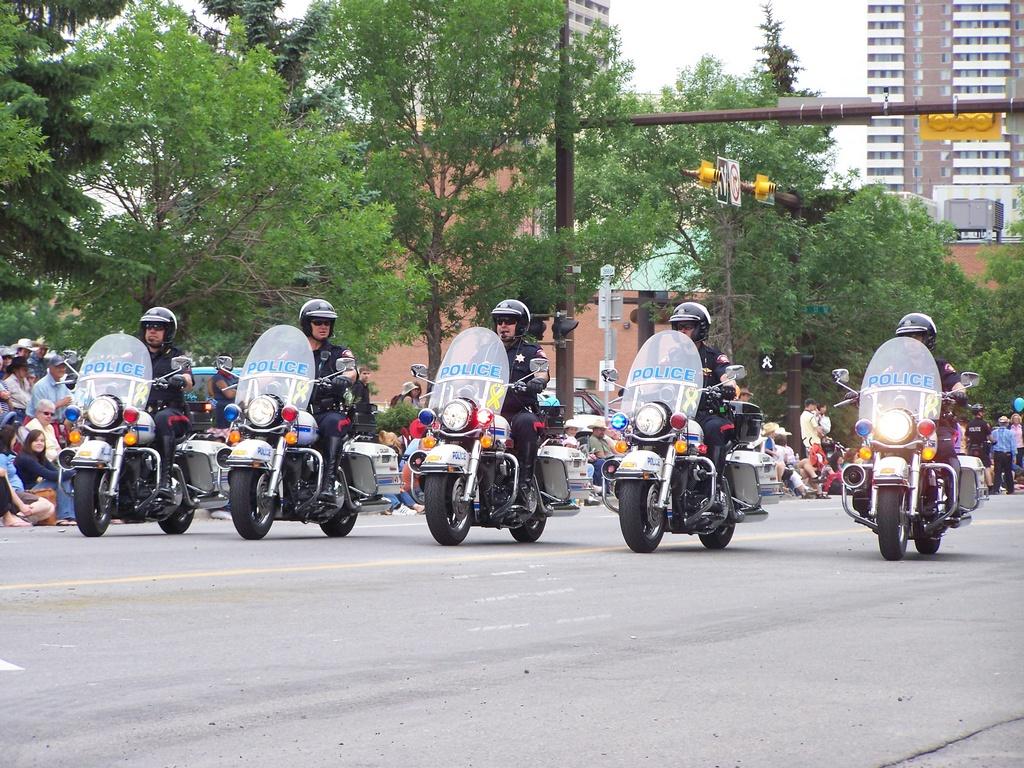 Calgary Police bikes in a row