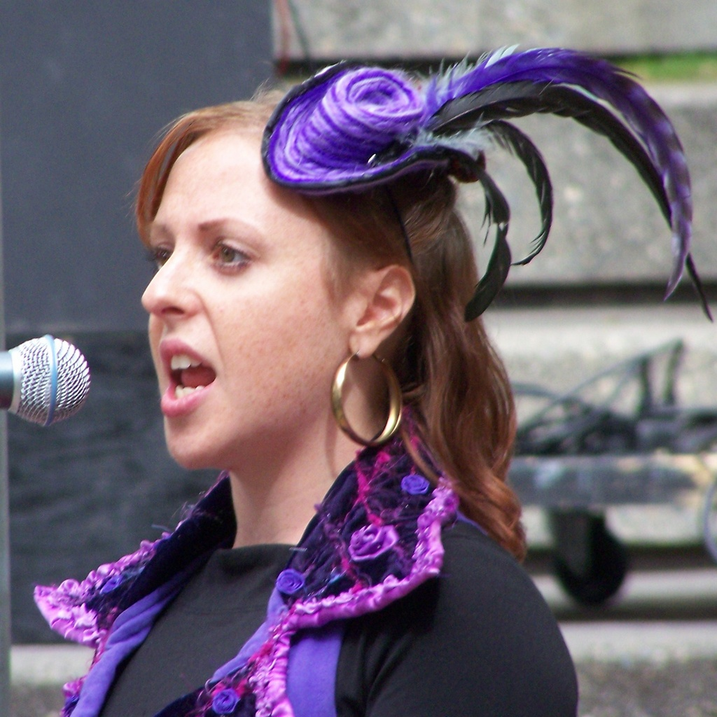Stephanie Norn (aka Spark) speaks to crowd 3