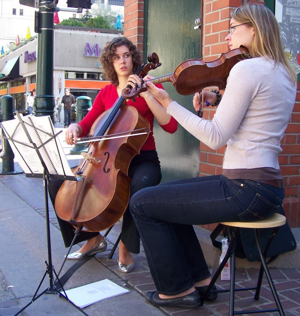 Duo play Cello and Violin