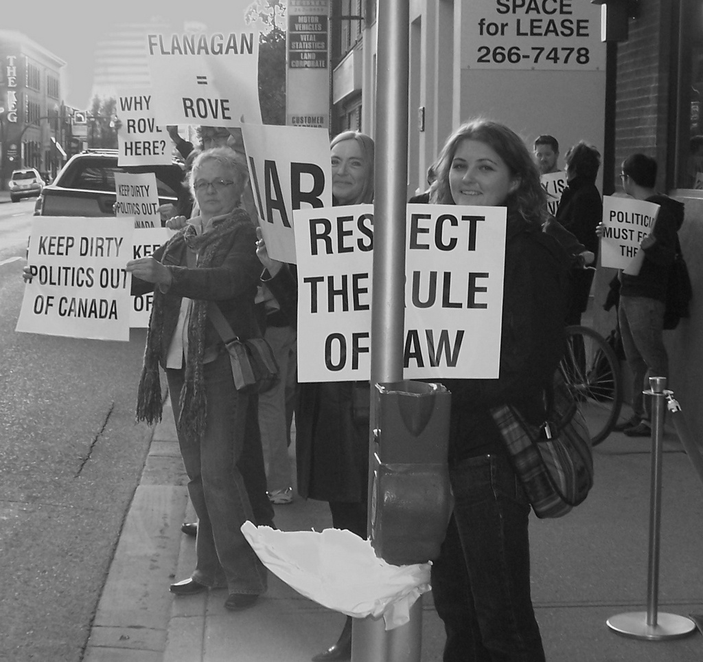 Protest of Karl Rove in Calgary