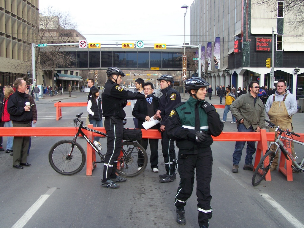 Crowd control on Macleod Trail