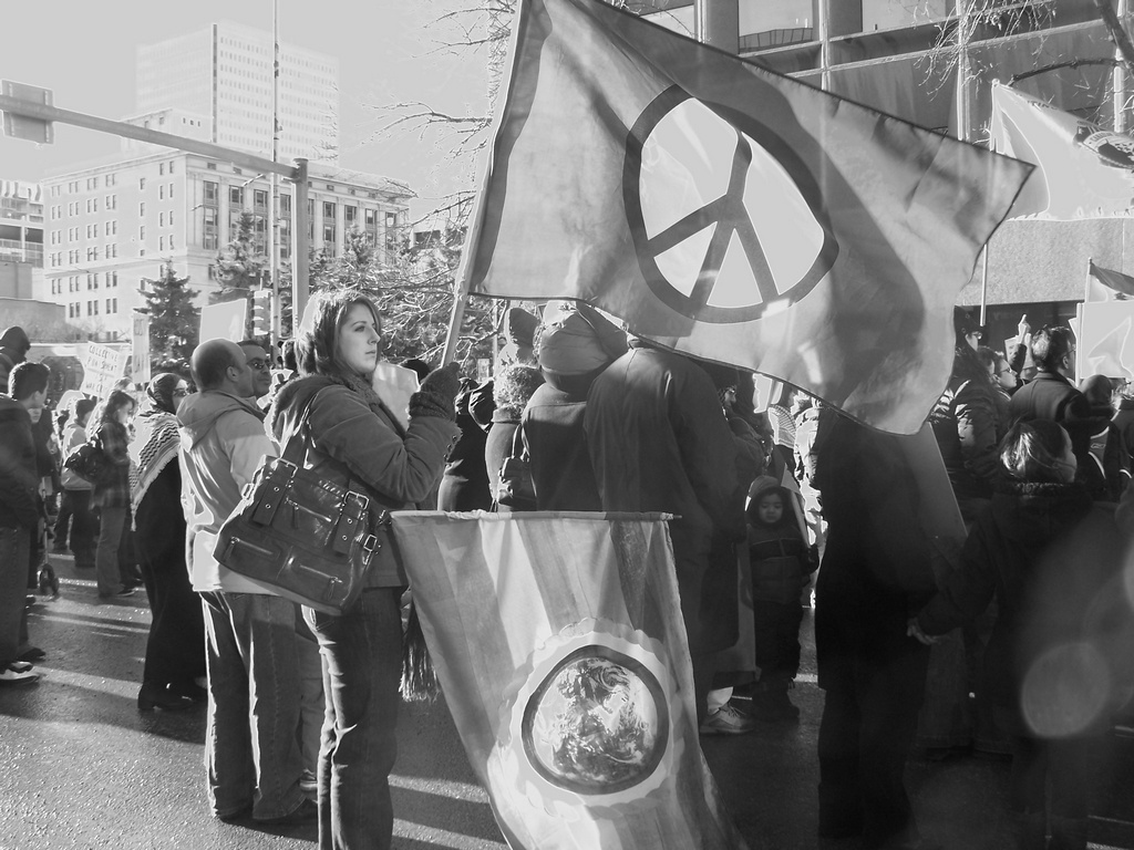 Peace flag in black and white