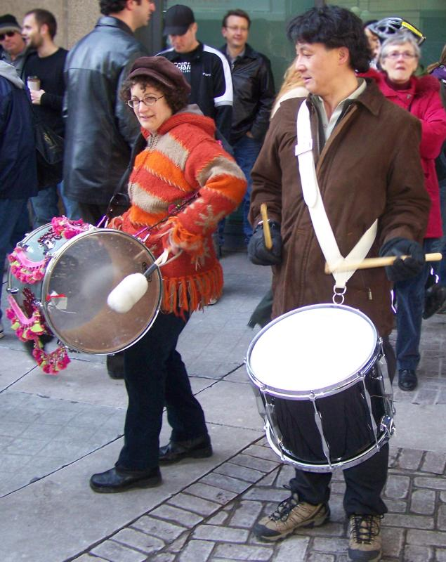 Drummers at protest