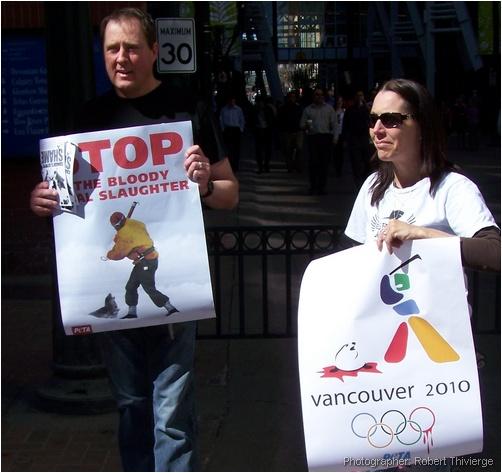 PETA protest on Stephen Avenue