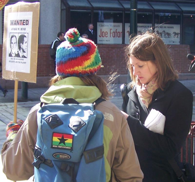 Katie Schneider interviews Bush protester