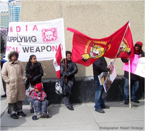 Waving the flag of the Tamil Tigers