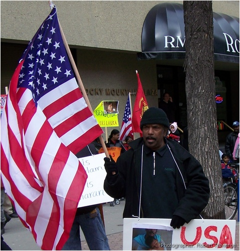 Tamils wave American flag in Calgary