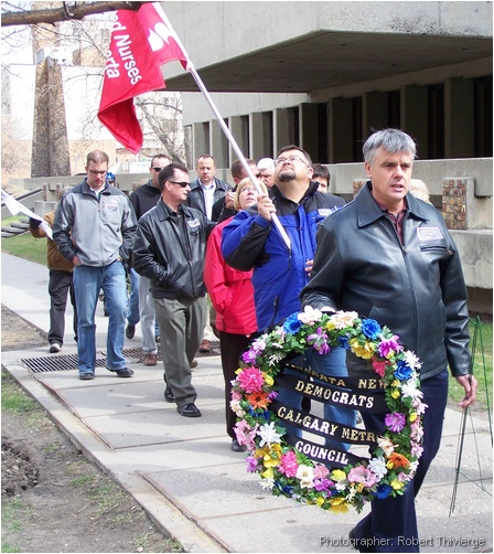 Marching for deceased workers