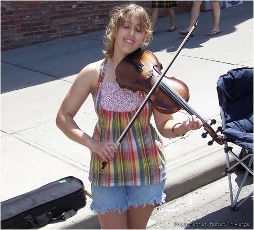 Half of a violin duo