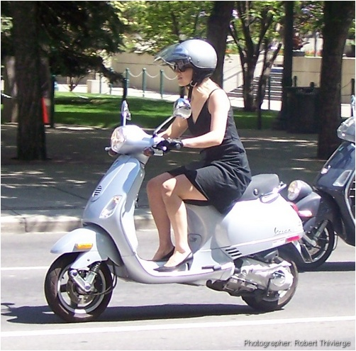 Dressed to ride the Vespa