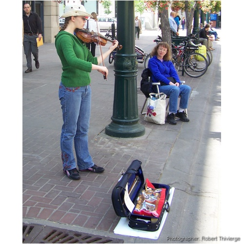 Watching the Violin on Stephen Avenue