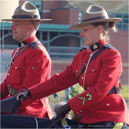RCMP Officers Ride in Stampede Parade