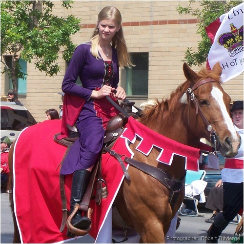 Medieval Lady on Her Horse in Parade