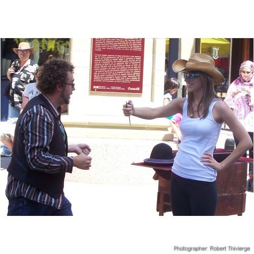 Stabbing at a magician