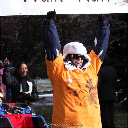 Cheering the finish