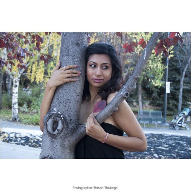Sophia by a tree