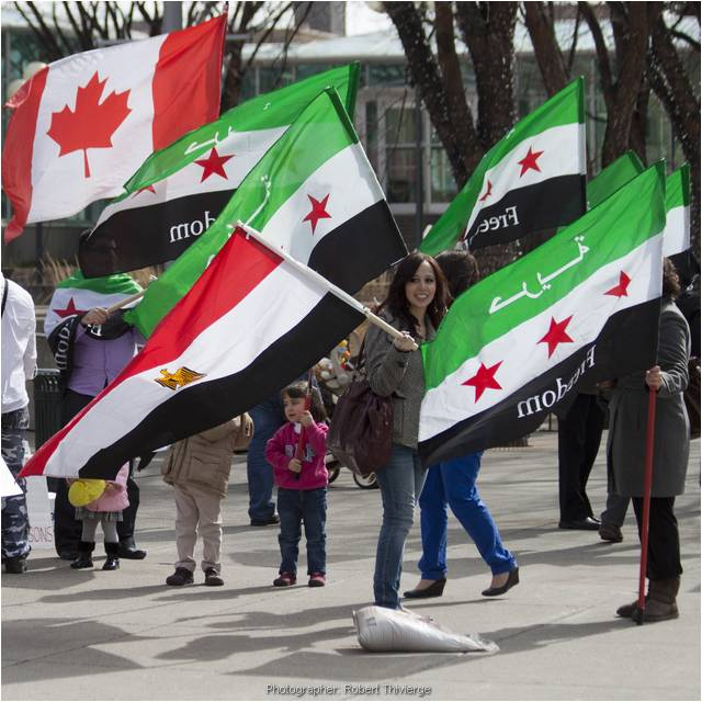 Egypt and Canadian Flags Join Syrian