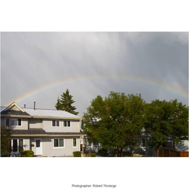 Rainbow marks end to hail storm